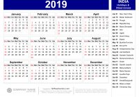 Calendar For Year 2019 India With Indian Holidays Pdf 123Freevectors