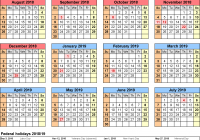 Calendar For Year 2019 Ireland With School Calendars 2018 As Free Printable Word Templates
