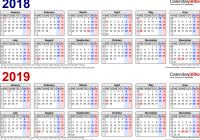 Calendar For Year 2019 Ireland With Two Calendars 2018 UK PDF