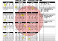 Calendar For Year 2019 Japan With 2018 Holiday