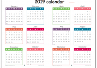 Calendar For Year 2019 South Africa With Printable Free One Page October 2018