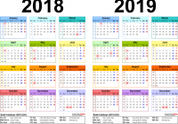 Calendar For Year 2019 Uk With Two Calendars 2018 UK PDF