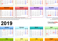 Calendar For Year 2019 United Kingdom With Two Calendars 2018 UK PDF