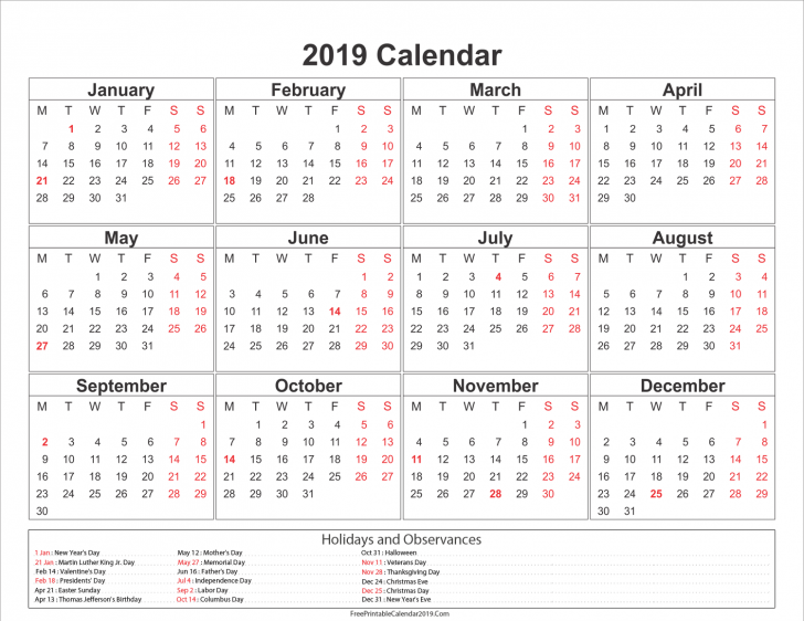 Permalink to Calendar For Year 2019 United States