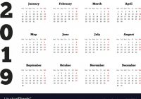 Calendar on 20 year with week starting from Vector Image – Week Of Year Calendar 2019