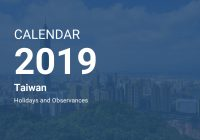 Chinese New Year 2019 Calendar Taiwan With