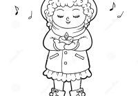 Christmas Carol Coloring Book With Girl Singing A Song Stock Vector