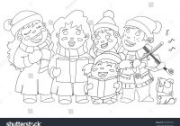 Christmas Carol Coloring Book With Page Caroling Children Stock Vector Royalty