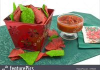 Christmas Colored Tortilla Chips With And Salsa Photo