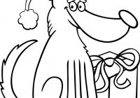 Christmas Coloring Book Vector With Dog And Gift Royalty Free
