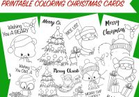 Christmas Coloring Cards Printable Free With Activity For Kids