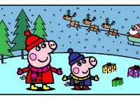 Christmas Coloring Games With Peppa Pig Pages For Kids