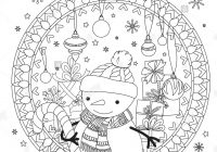 Christmas Coloring Outline With Page Adult Book Cute Snowman