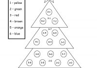Christmas Coloring Pages Addition With Tree Color By Number Add Subtract Printable Worksheet