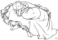 Christmas Coloring Pages Baby Jesus With In A Manger Page Free Printable