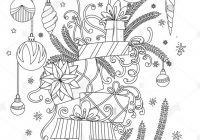 Christmas coloring Pages. Coloring Book for adults. Pile of holiday ..