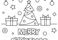 Christmas Coloring Pages Merry With Page Vector Illustration Stock
