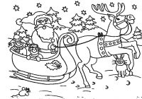Christmas Coloring Pages Of Santa With Simple And Reindeer