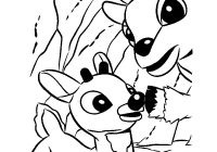 Christmas Coloring Pages Reindeer With Rudolph And Santa Sleigh Hellokids Com