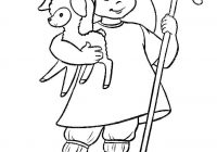 Christmas Coloring Pages Shepherds With Shepherd A Lamb In His Hands Page Free Printable