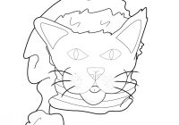 Christmas Coloring Pages With Cats Cat Santa Hat Hellokids Com