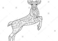 Christmas Coloring Pages With Reindeer Vector Zen Tangle Adult Stock Royalty