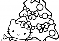 Christmas Coloring Picture With Hello Kitty Page Free Printable Pages