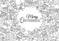 Christmas Coloring Wrapping Paper With Merry Set Of Xmas Monochrome Pattern And Text Templates