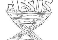 Christmas Colouring Pages Baby Jesus With Manger For Children In The Coloring