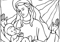 Christmas Colouring Pages Baby Jesus With Mary And Coloring Page Free Printable