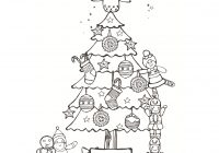 Christmas Colouring Pages Tree With Sheets Pebblechild