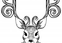Christmas Deer Coloring Pages With Reindeer Page Free Printable
