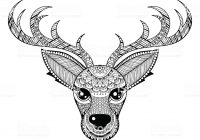 Christmas Deer Coloring Pages With Vector Reindeer For Adult Anti Stress Stock