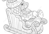 Christmas Dog Coloring Page With Adult Book A On The Sleigh
