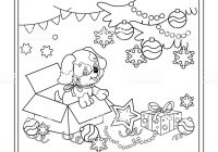 Christmas Dog Coloring Page With Outline Of Tree Stock Vector Art