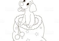 Christmas Dog Coloring Page With The Puppy Is Smiling And Sitting In A