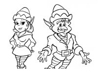 Christmas Elves Coloring Pages To Print With Girl Elf
