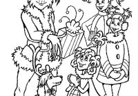 Christmas Grinch Coloring Pages With And Kids Page Winter Sheets