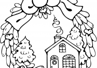 Christmas House Coloring Pages With Of Houses Wreath Gingerbread