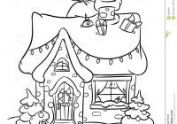 Christmas House Coloring Pages With Snow Stock Illustration Of Decoration