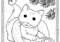 Christmas Kitty Coloring Page – Christmas Cat Coloring Pages