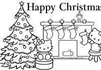 Christmas Kitty Coloring Pages With Hello