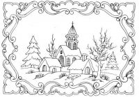 Christmas Landscape Coloring Pages With So Pretty Printables Pinterest Embroidery Adult And