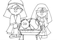 Christmas Manger Coloring Pages With Jesus Free