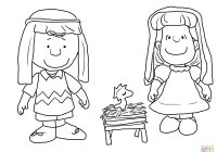 Christmas Nativity Coloring Pages With Charlie Brown Page Free Printable