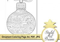Christmas Ornament Coloring Page for Adults Printable | Etsy – Christmas Ornament Coloring Pages Pdf