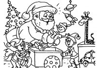 Christmas Santa Claus Coloring Pages With Awesome Cartoon Design Printable