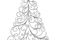 Christmas Tree Coloring Pages For Adults With Swirly Page Free Printable