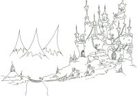 Christmas Village Coloring Pages Printable With Monkeys Bringing A Tree To Their Castle