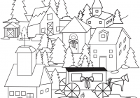 Christmas Village Coloring Pages Printable With Page Free
